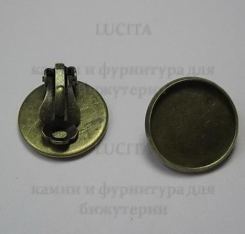 Основы для клипс с сеттингом для кабошона 16 мм (цвет - античная бронза) ()