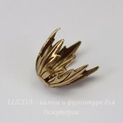 Винтажный декоративный элемент - шапочка 12 мм (оксид латуни)