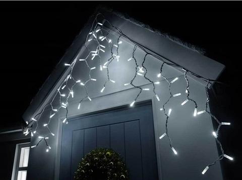 LED уличная бахрома с мерцанием flesh белый цвет