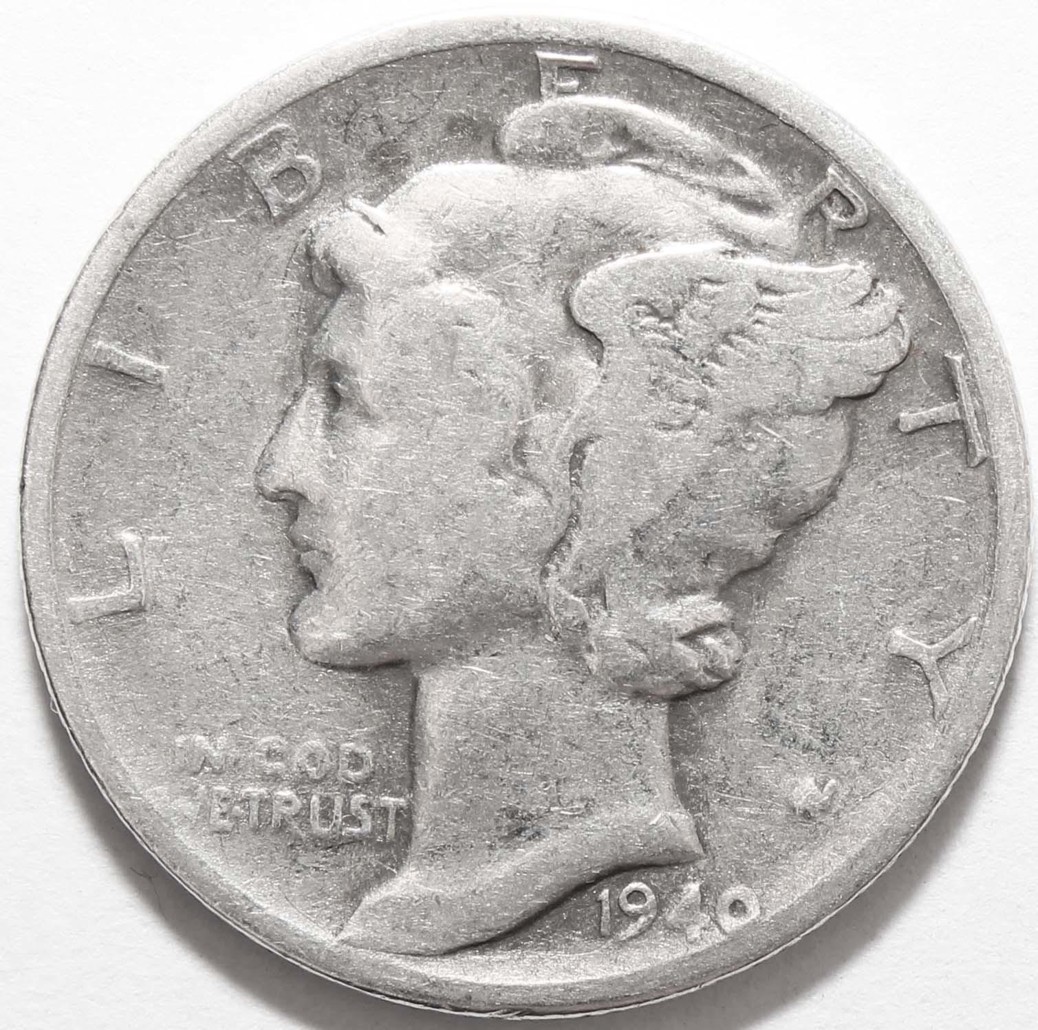 1 дайм (10 центов) 1940. США. F-VF (Меркурий) Серебро