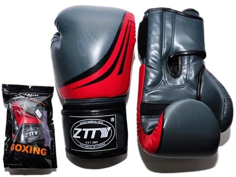 Перчатки бокс 8oz, 100% кожзам, многослойный наполнитель из вспененного полиуретана.Q200 Цвет - серый с красными вставками.ZTQ200 СК-8