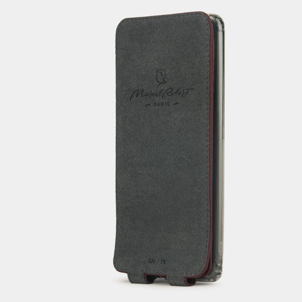 Чехол для Samsung Galaxy S20 из натуральной кожи теленка, бордового цвета