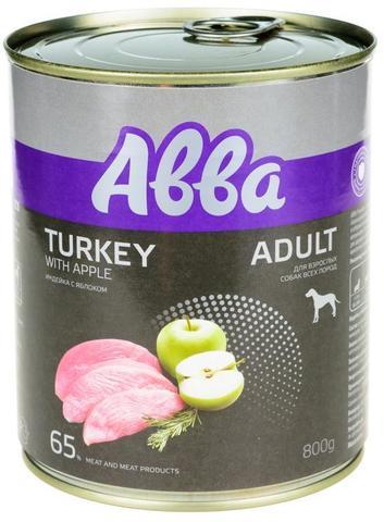 ABBA Premium консервы для собак средних и крупных пород, с индейкой и яблоком 800 гр.