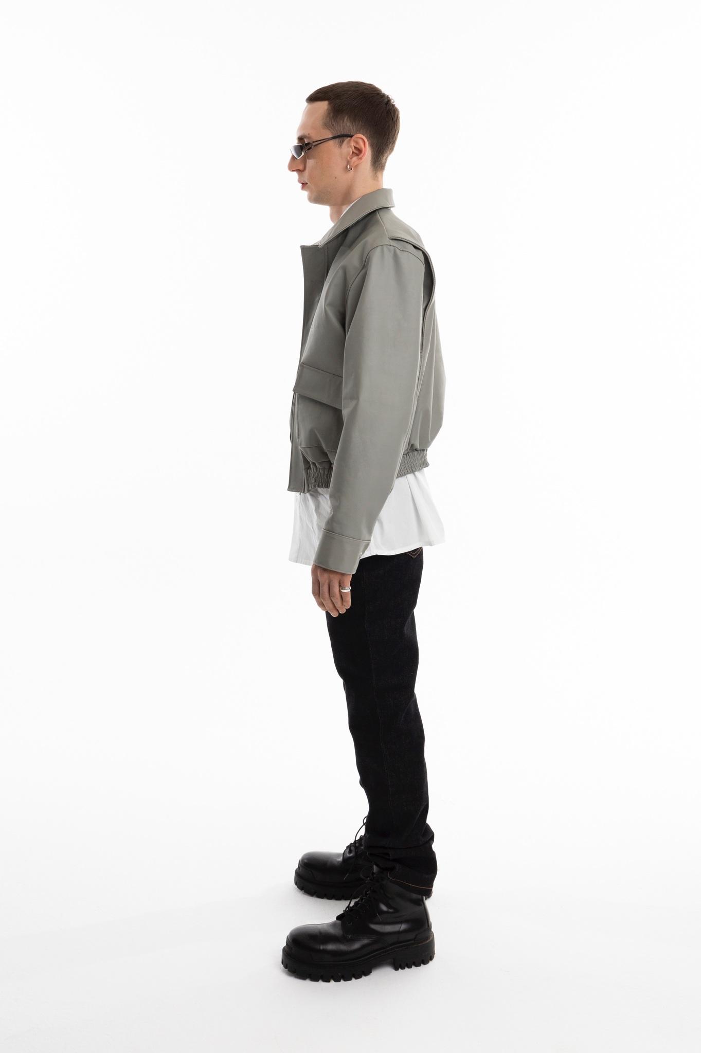 Кожаный харингтон/gray