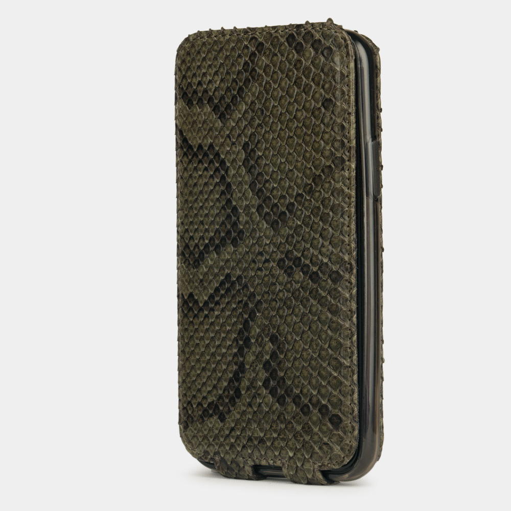 Чехол для iPhone 11 Pro Max из натуральной кожи питона, зеленого цвета