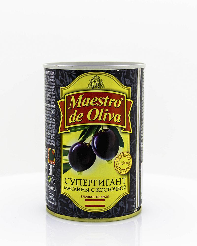 Оливки Maestro de Oliva Гигантские с косточкой 420 гр.