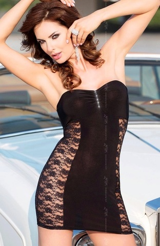 Черное короткое платье с кружевом по бокам BERENICE