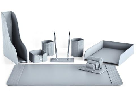 Настольный набор 8 предметов из кожи Treccia/серый