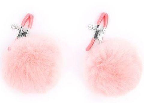 Зажимы для сосков с розовым пушком