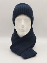 Мужской комплект шапка с отворотом и шарф, темно-синий