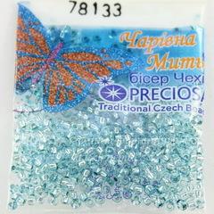 78133 Бисер 10/0 Preciosa Кристалл Соль-Гель светло-бирюзовый с серебряным центром