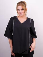 Марина. Весняна блуза великих розмірів. Чорний.