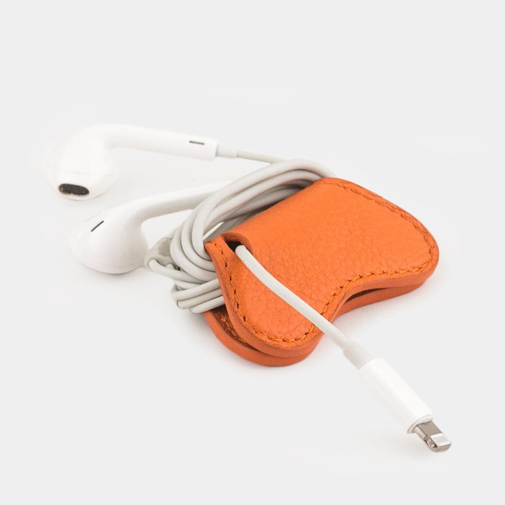 Чехол-держатель для наушников Papillon Easy из натуральной кожи теленка, оранжевого цвета