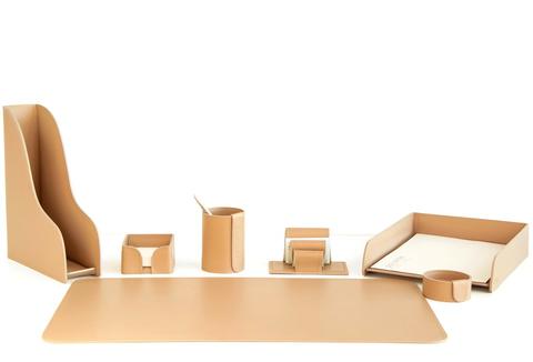Набор для рабочего стола, 7 предметов из кожи цвет натуральный