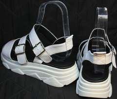 Белые женские босоножки на белой подошве Evromoda 3078-107 Sport White