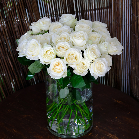Розы белые Avalanche от 9шт