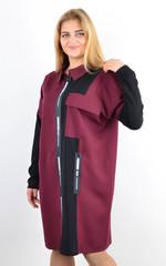 Сабіна. Жіноча сорочка на блискавці великих розмірів. Бордо.