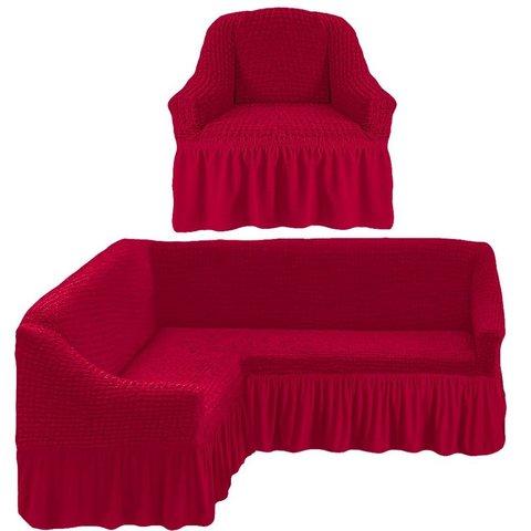 Чехол на угловой диван и кресло, бордовый