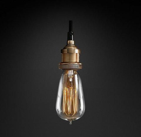 Подвесной светильник копия 20th C. Factory Filament Bare Bulb Single Pendant by Restoration Hardware