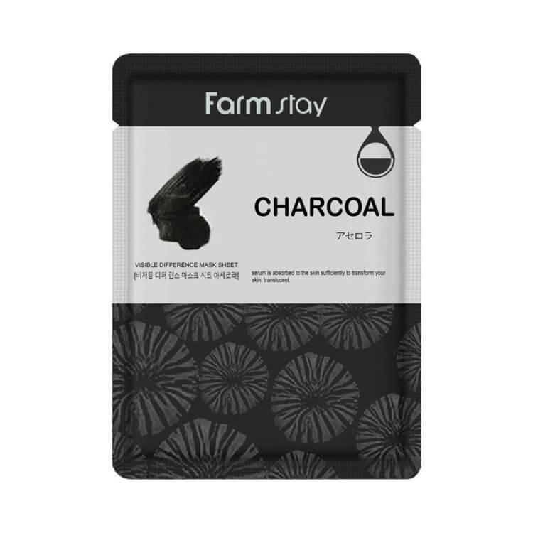 Маска для лица - древесный уголь | FarmStay VISIBLE DIFFERENCE MASK SHEETCharcoal