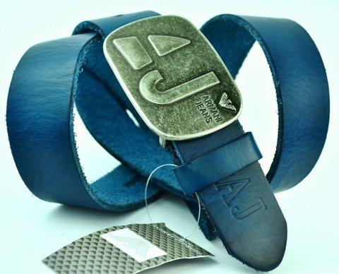 Брендовый синий ремень Armani 3010 из телячей кожи