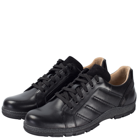 652316 Полуботинки мужские черные кожа. КупиРазмер — обувь больших размеров марки Делфино