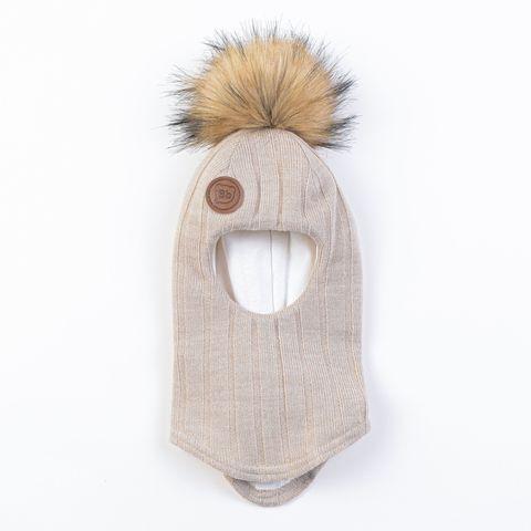 Шлем зимний вязаный с меховым помпоном