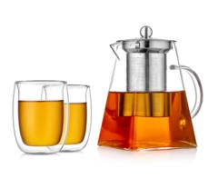 Заварочный чайник квадратный со стаканами – набор Квадрат 2