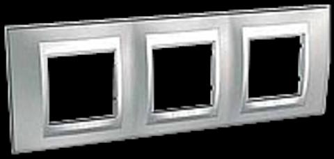 Рамка на 3 поста. Цвет Хром матовый-алюминий. Schneider electric Unica Top. MGU66.006.038