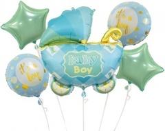 К Набор шаров (35''/89 см) Коляска для мальчика, Голубой, 5 шт. в упак.
