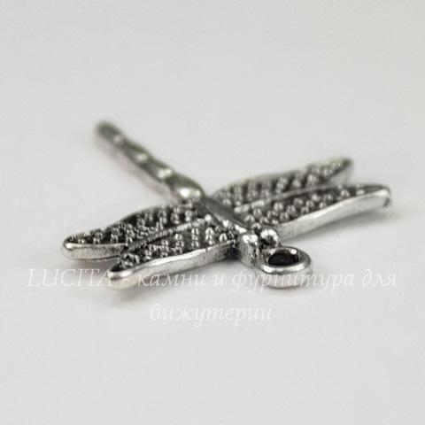 "Подвеска ""Стрекоза 2"" (цвет - античное серебро) 25х23 мм"