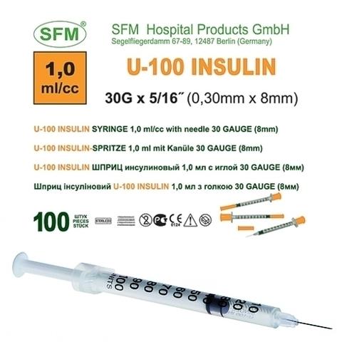 Шприц ( 3-х компонентный) 1 мл. инсулиновый U-100 с интегрированной иглой 0,30х8 ( 30G)