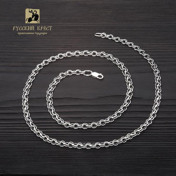 Серебряная цепь на шею толстая плетение Ручей.