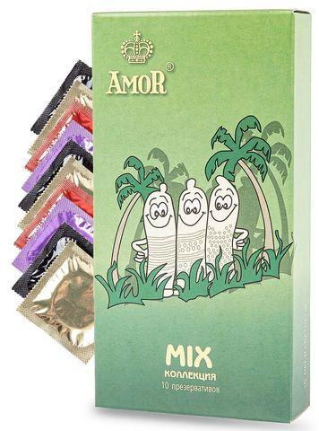 Микс-набор презервативов AMOR Mix  Яркая линия  - 10 шт.