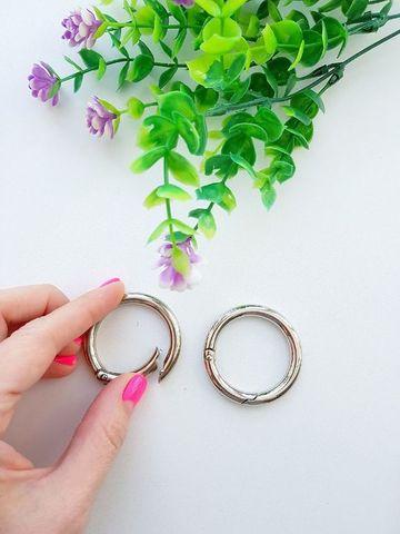 Карабин-кольцо серебро, D 38 мм