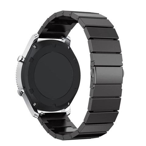 Блочный браслет Fohuas из нержавеющей стали для часов Samsung Galaxy Watch Active 2 (черный) 20мм