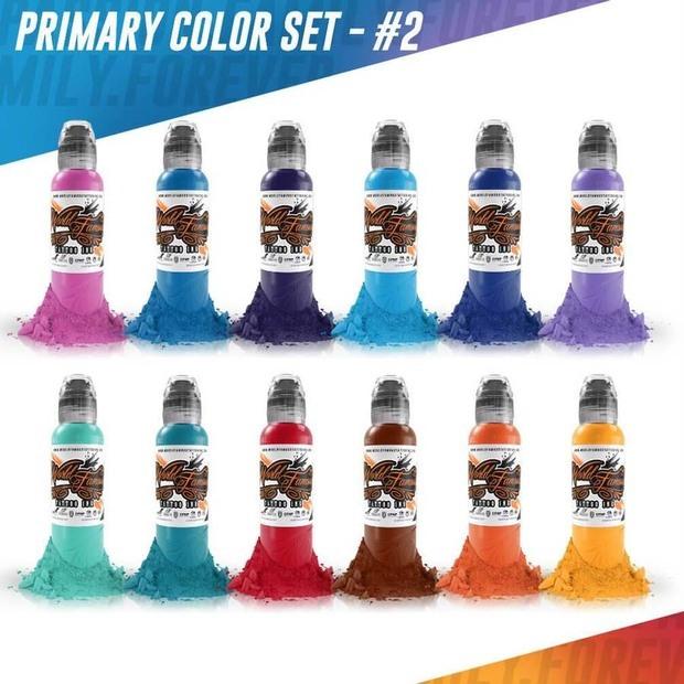 Набор красок для тату Color Primary Set #2 - 12шт по 1 унции -30 мл от World Famous