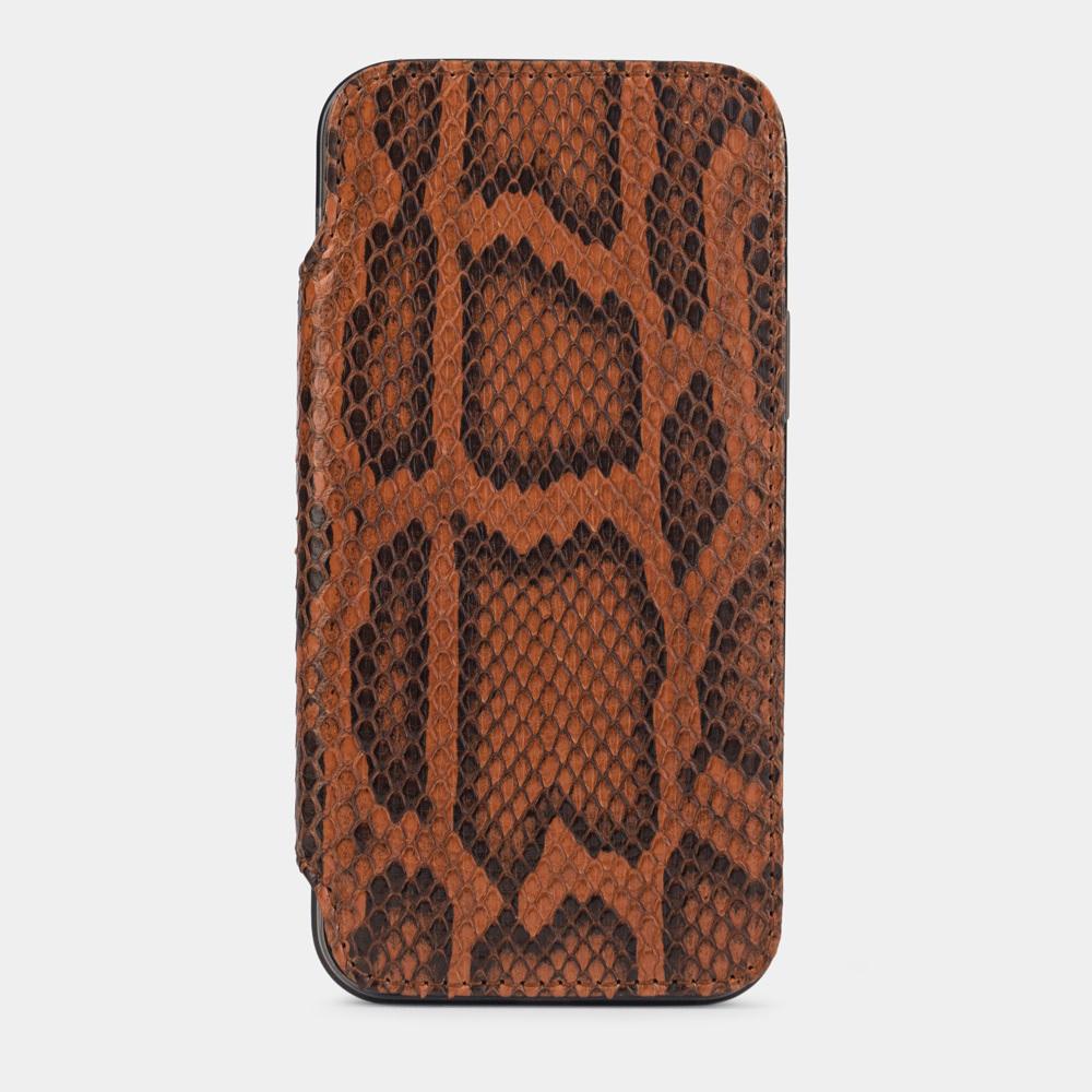 Чехол Benoit для iPhone 12/12Pro из натуральной кожи питона, цвета Коньяк