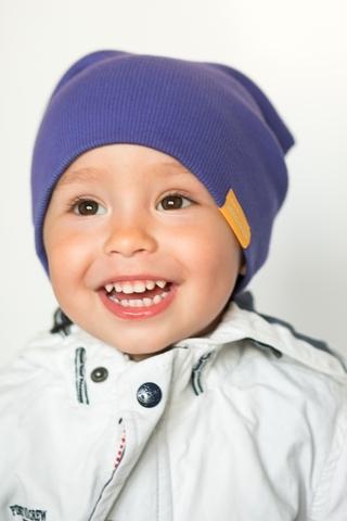 Детская шапка хлопковая в рубчик сине-фиолетовая