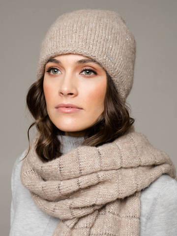 Женская шапка песочного цвета из шерсти - фото 1