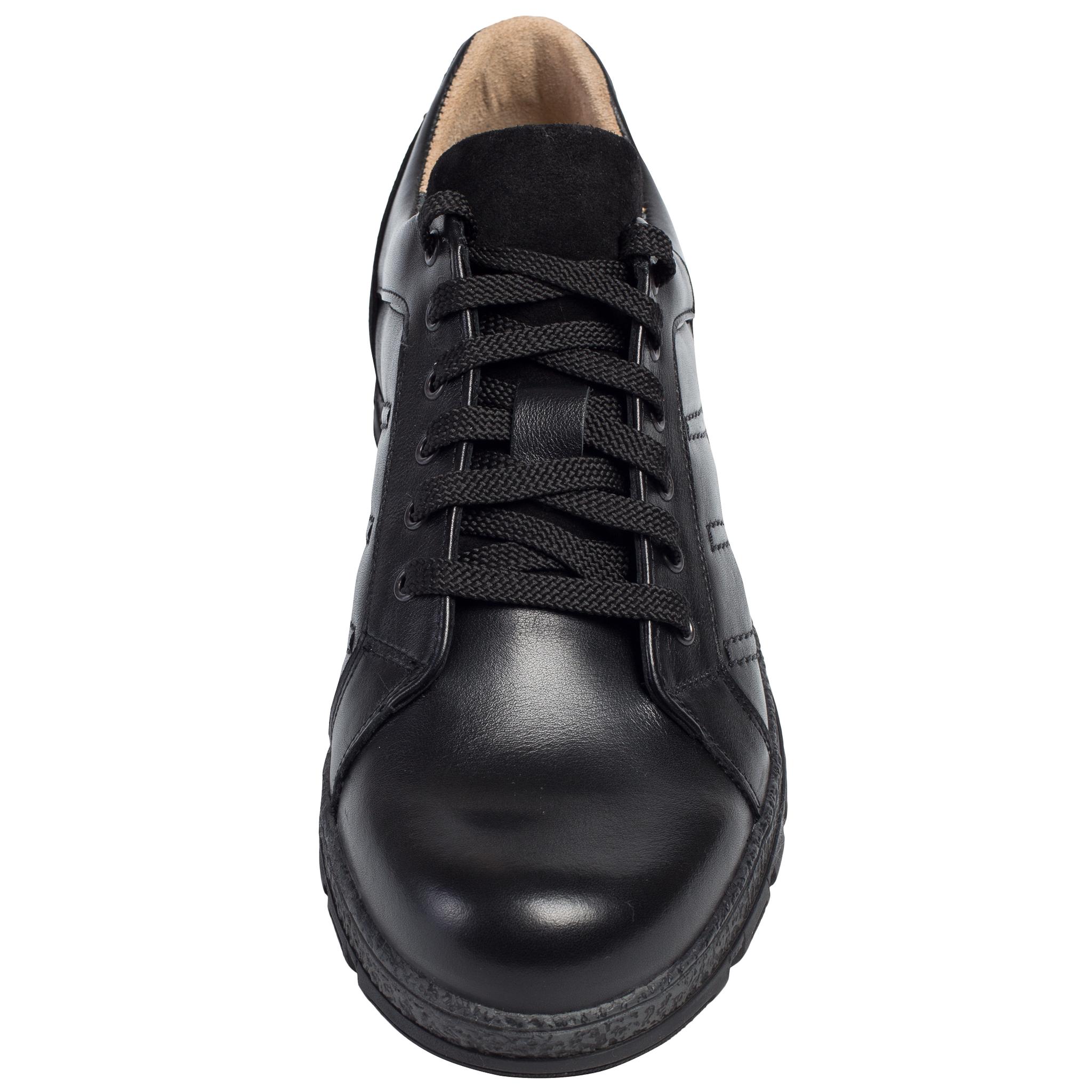 652316 Полуботинки мужские черные кожа больших размеров марки Делфино