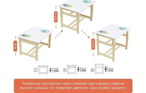 Комплект растущей детской мебели Polini kids Eco 400 SM, Единорог, 68х55 см, белый-натуральный