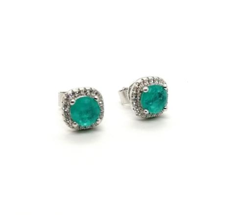 47233- Пусеты из серебра с кварцем цвета парабаиба в обрамлении фианитов lux