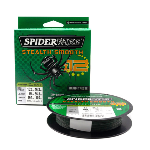 Плетеная леска Spiderwire Stealth Smooth 12 Braid Темно-зеленая 0,39 мм., 46,3 кг., 150 м. (1507360)