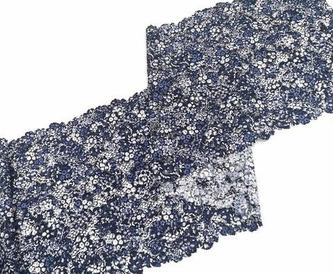 Эластичное кружево, 22 см, мультиколор синие цветы, м, (Арт: EK-2284), м