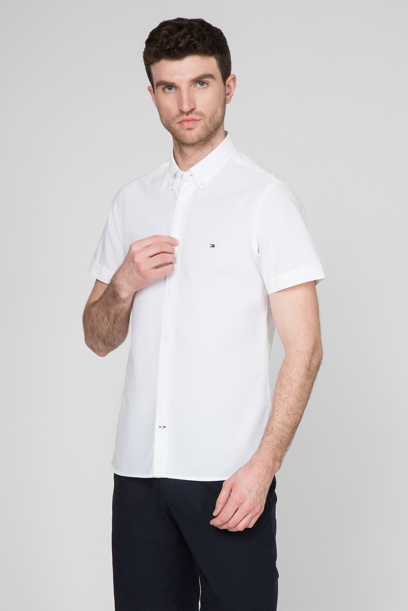 Мужская белая рубашка SLIM ORGANIC OXFORD Tommy Hilfiger