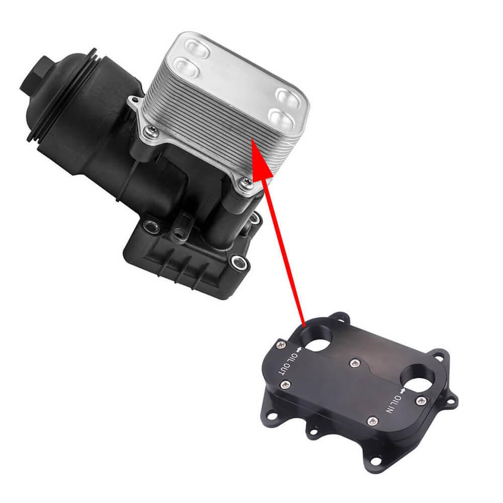 Замена теплообменника 03L117021C на пластину расширения для установки масляного радиатора