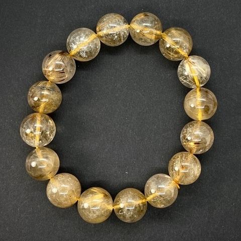 Бусина кварц рутиловый золотой A шар гладкий 14-14,4 мм 1 бусина