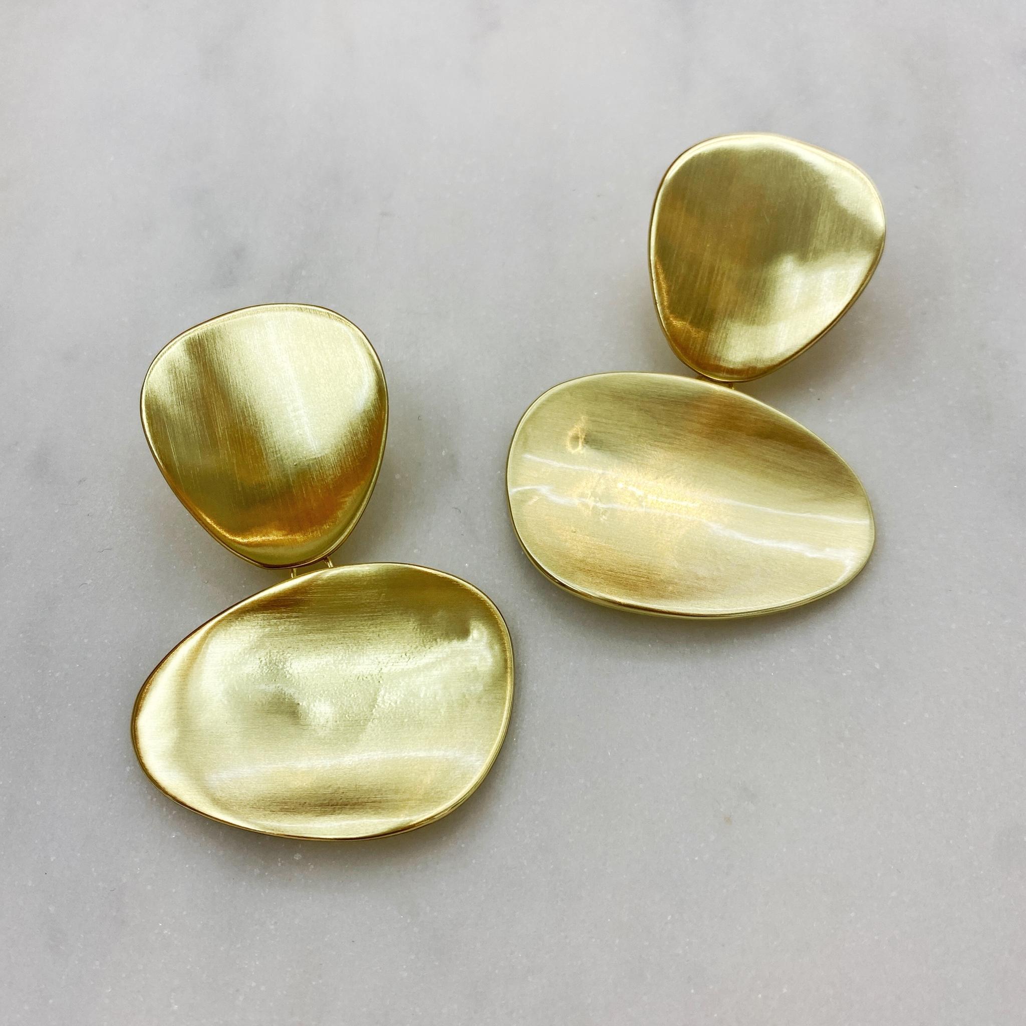Серьги в виде двух овалов сатиновые  (золотистый) (Vi)