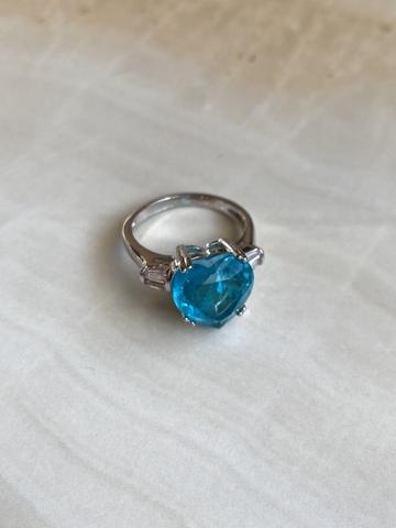 Кольцо Лагункор с синим цирконом, серебряный цвет